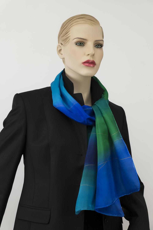 selyem sál türkiz és kék 01