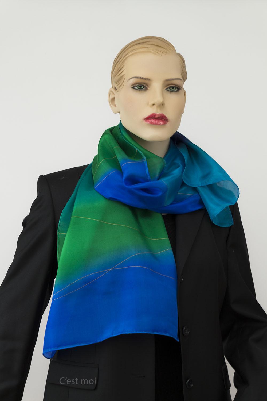 selyem sál türkiz és kék 02