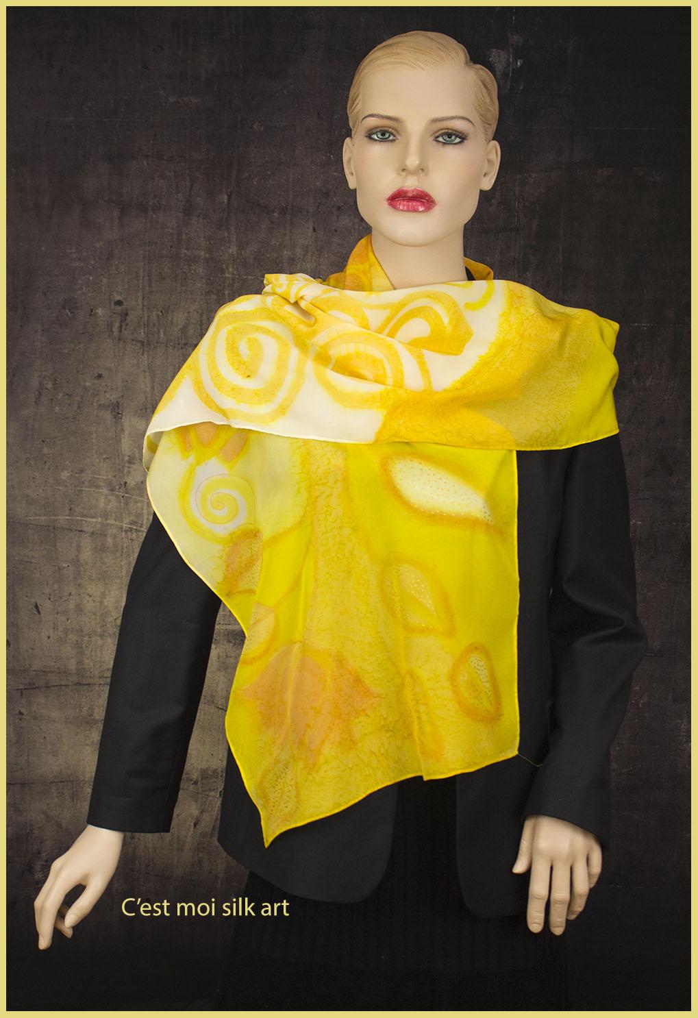 selyem zsorzsett sál sárga lótuszok 06