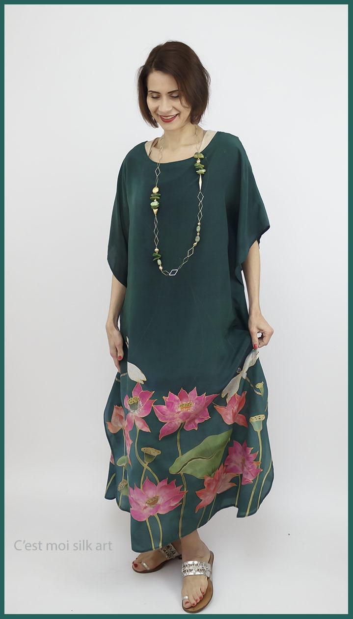 selyem crepe de chine kézzel festett ruha zöld lótuszokkal 06