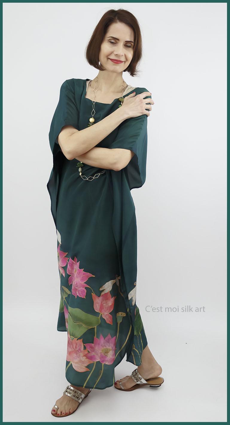 selyem crepe de chine kézzel festett ruha zöld lótuszokkal 08