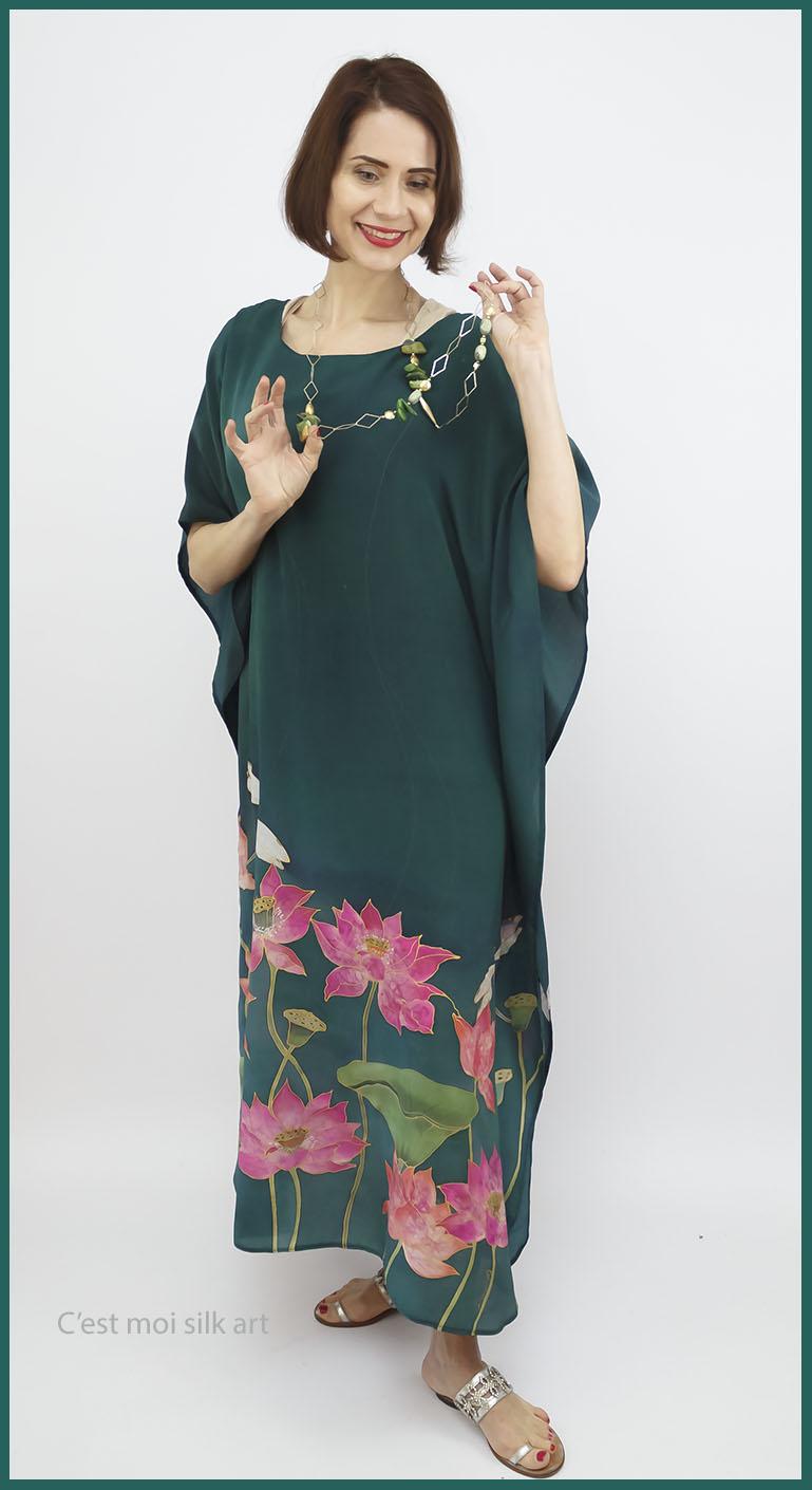 selyem crepe de chine kézzel festett ruha zöld lótuszokkal 09
