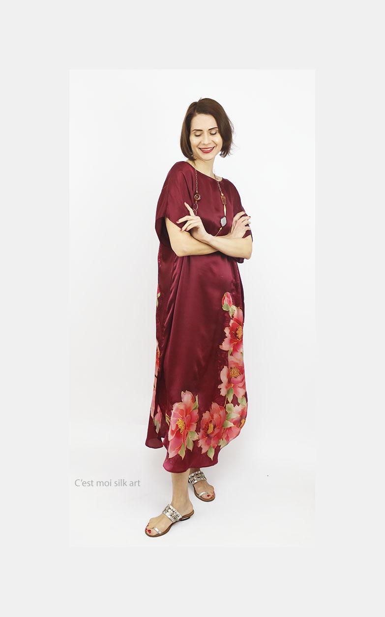 selyem ruha bordó 01