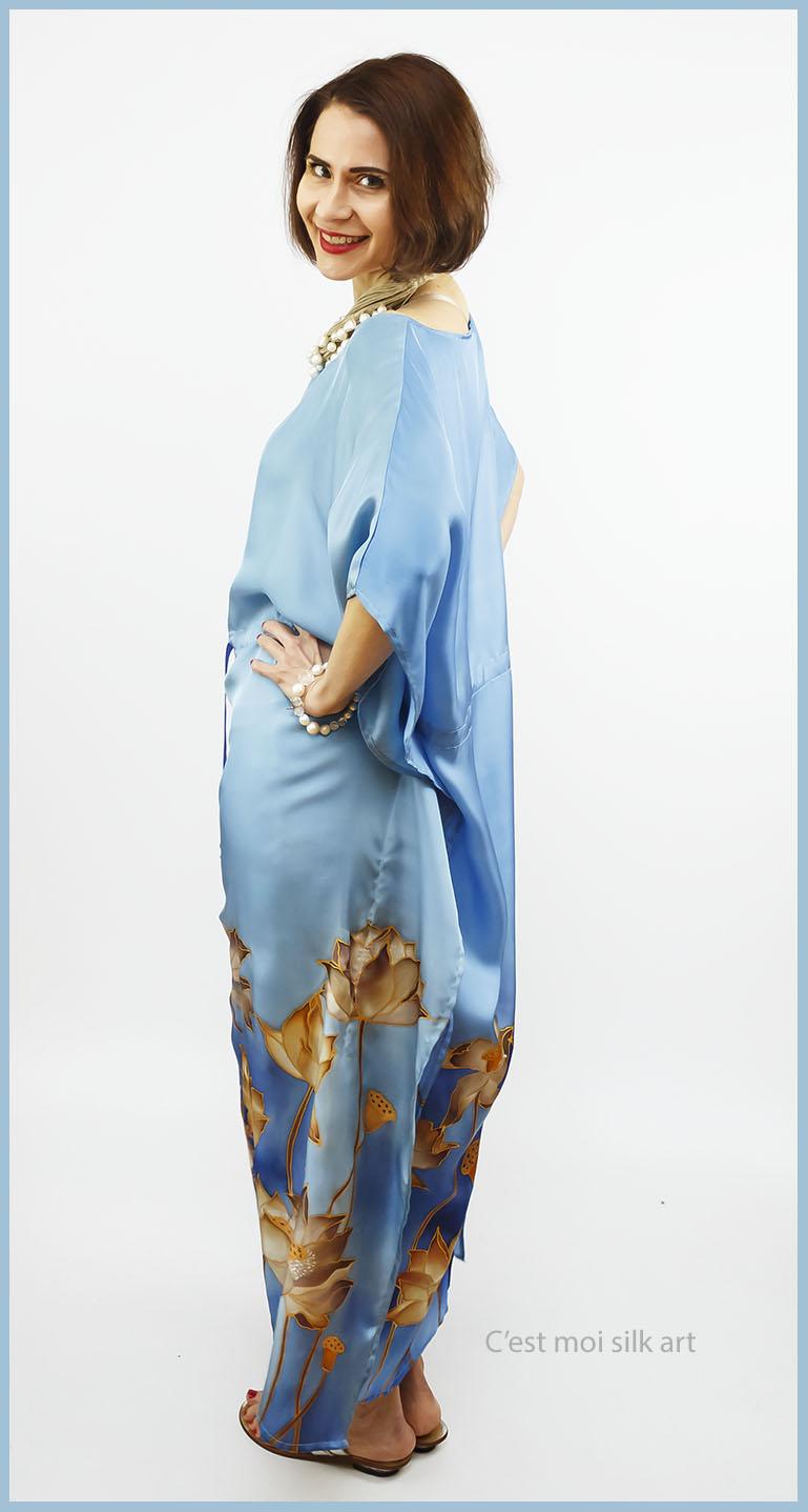 selyem ruha kézzel festett kék lótuszokkal 05