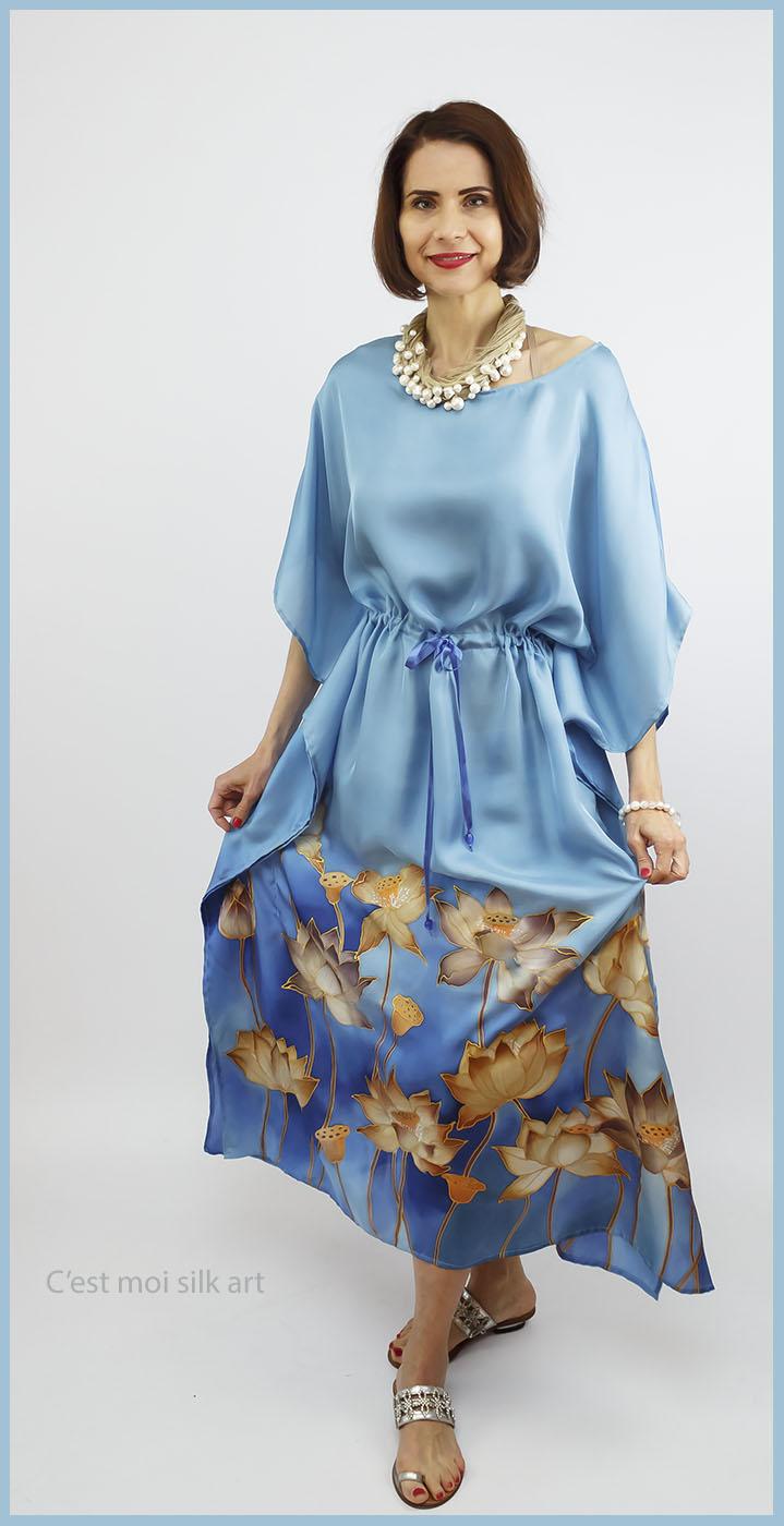 selyem ruha kézzel festett kék lótuszokkal 11