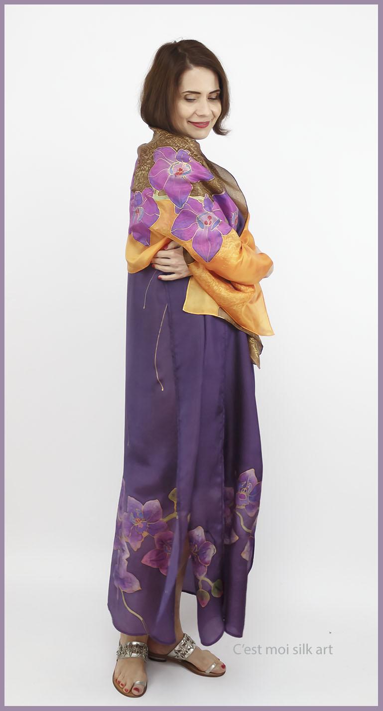selyem ruha kézzel festett lila lótuszokkal 01