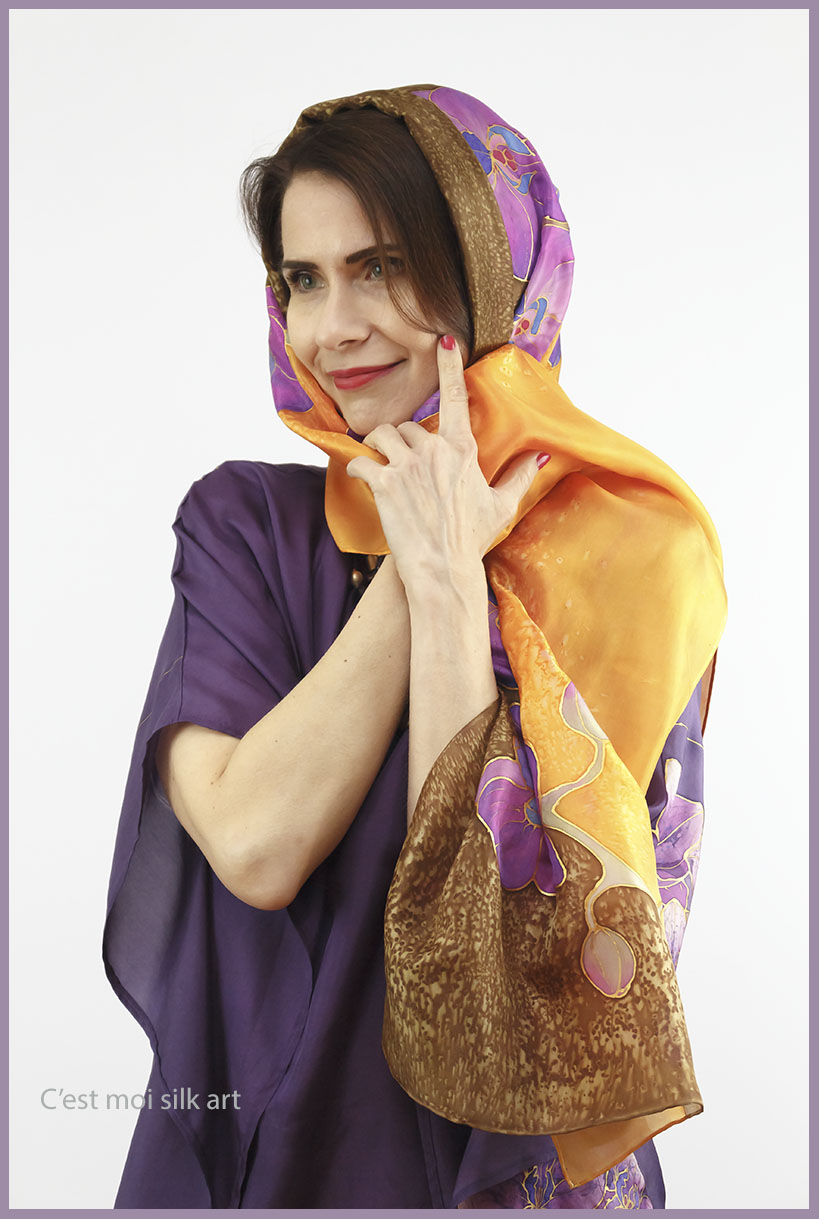 selyem ruha kézzel festett lila lótuszokkal 08