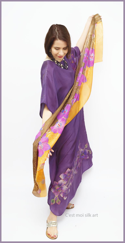 selyem ruha kézzel festett lila lótuszokkal 09