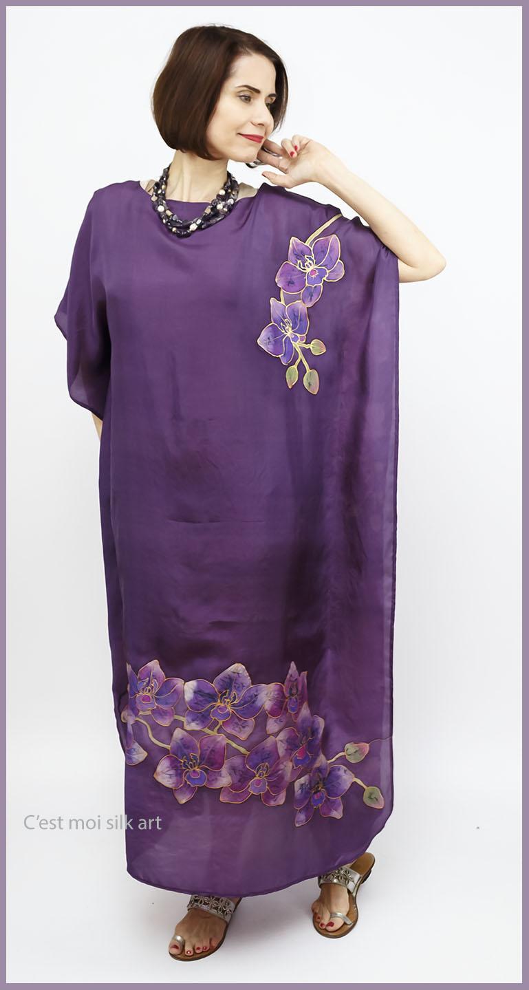 selyem ruha kézzel festett lila lótuszokkal 10