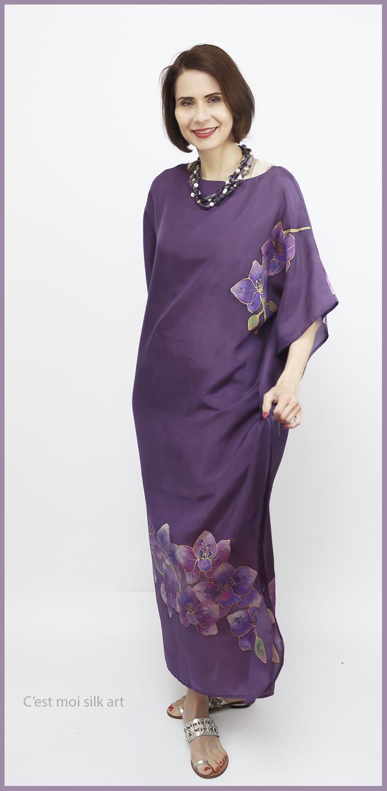 selyem ruha kézzel festett lila lótuszokkal 11
