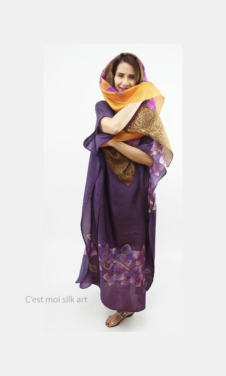 selyem ruha kézzel festett lila lótuszokkal 12