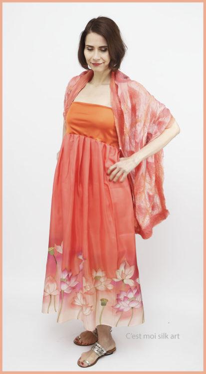 selyem ruha narancsos lótuszokkal 01