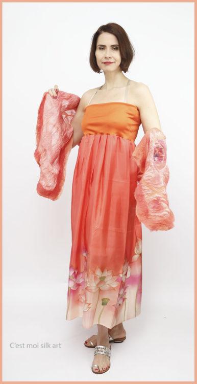selyem ruha narancsos lótuszokkal 02