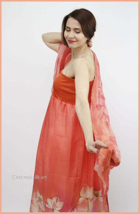 selyem ruha narancsos lótuszokkal 06