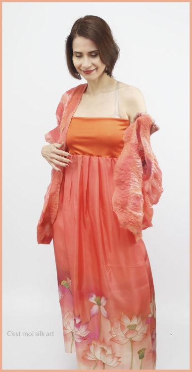 selyem ruha narancsos lótuszokkal 07