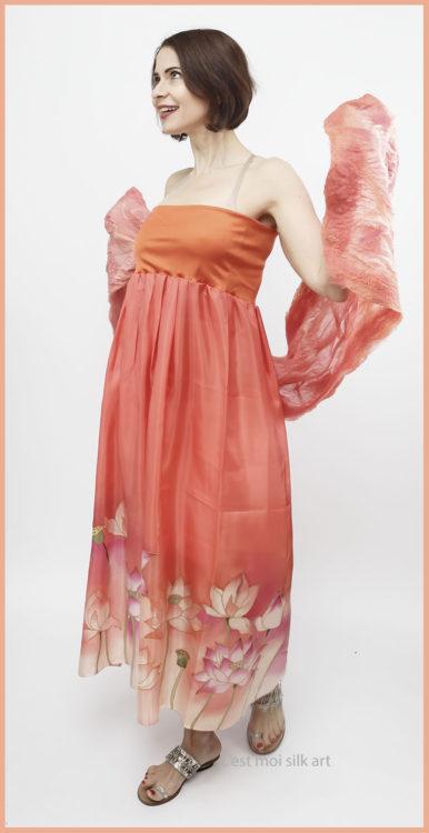 selyem ruha narancsos lótuszokkal 08