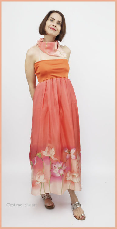 selyem ruha narancsos lótuszokkal 09