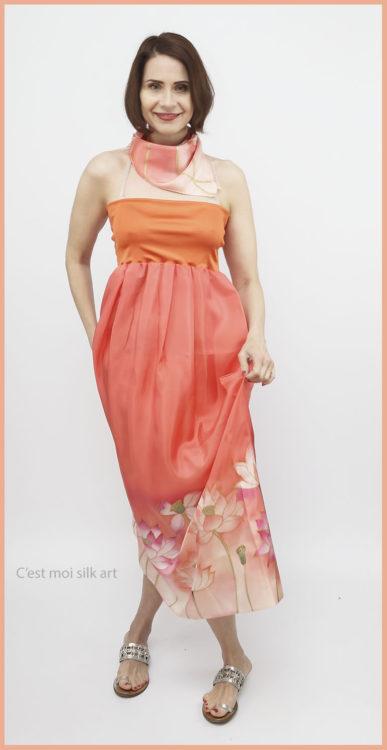 selyem ruha narancsos lótuszokkal 10