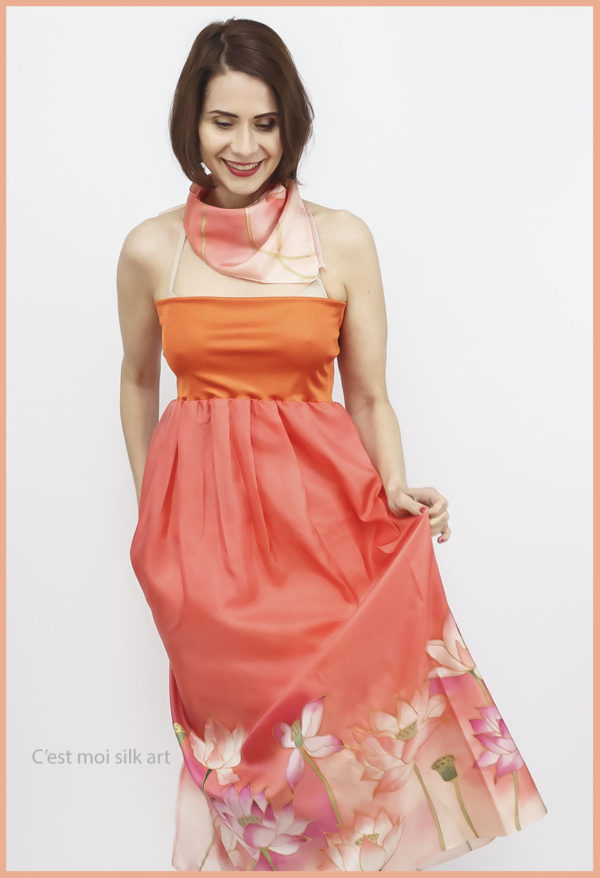 selyem ruha narancsos lótuszokkal 11