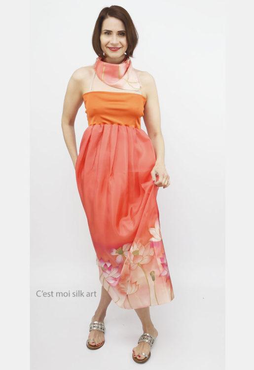 selyem ruha narancsos lótuszokkal 14