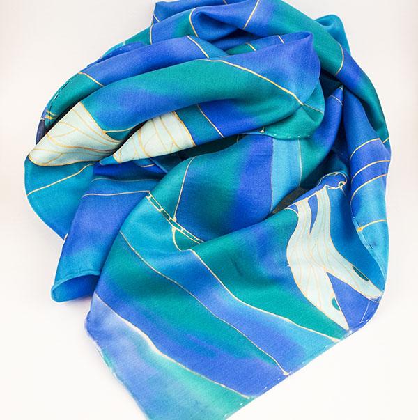 selyem sál kék szitakötők 01