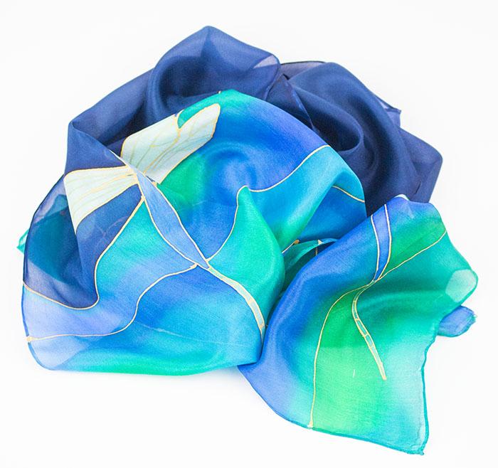 selyem sál kék szitakötők 04