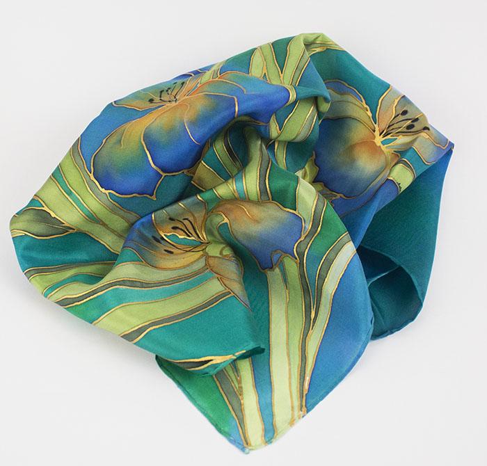 selyem sál kicsi íriszes kék02