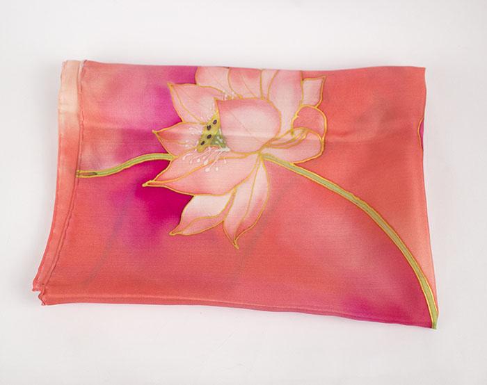 selyem sál kicsi pink lótuszok 01