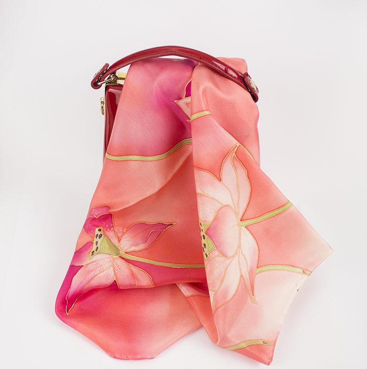selyem sál kicsi pink lótuszok 03