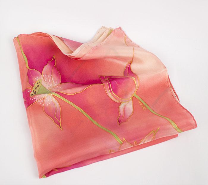 selyem sál kicsi pink lótuszok 04
