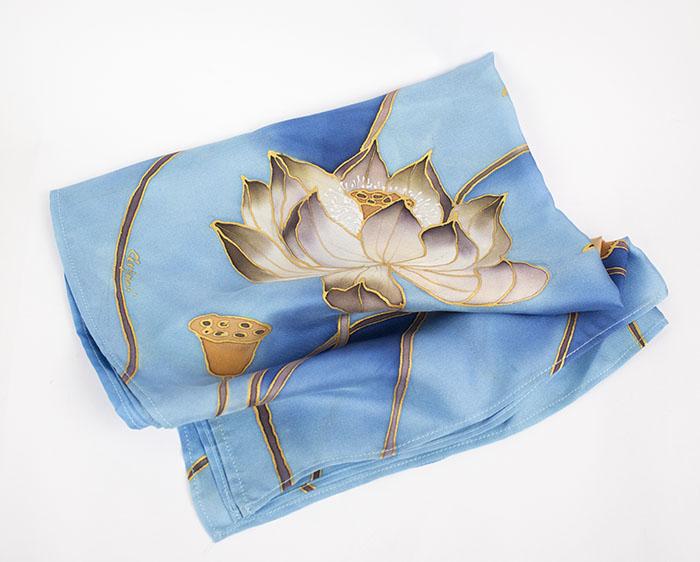 selyem sál kicsi twill kék pairuszok03