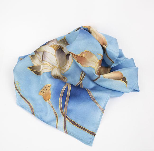 selyem sál kicsi twill kék pairuszok04