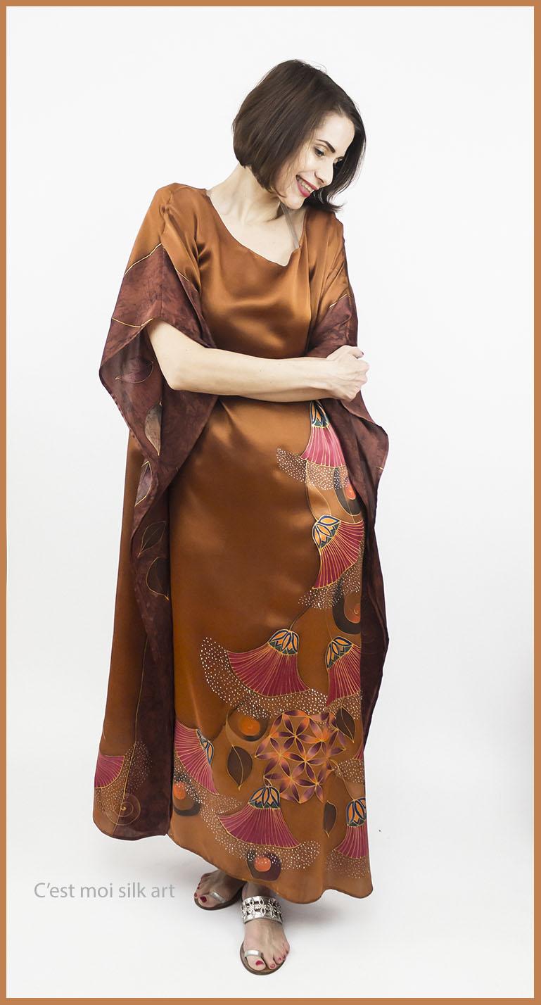 selyem szatén ruha bronz élet virága papiruszokkal 05