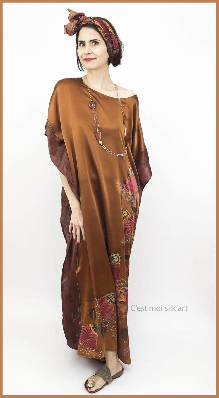 selyem szatén ruha bronz élet virága papiruszokkal 10
