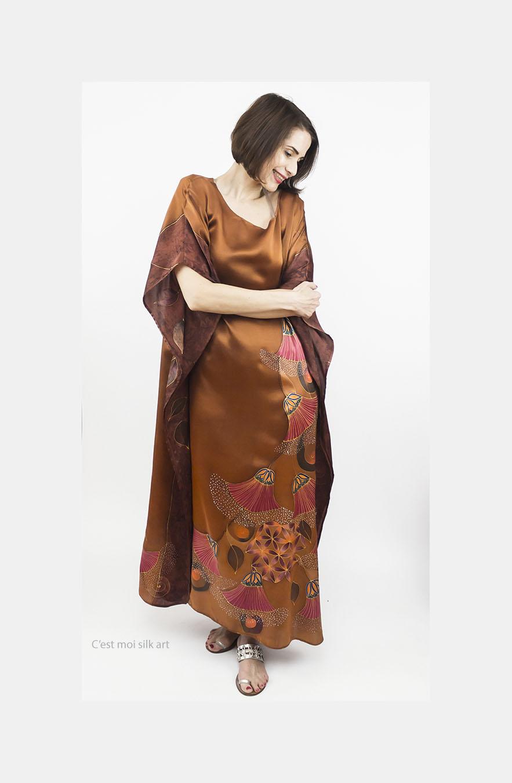 selyem szatén ruha bronz élet virága papiruszokkal 11