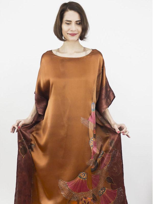 selyem szatén ruha bronz élet virága papiruszokkal nyitó 02