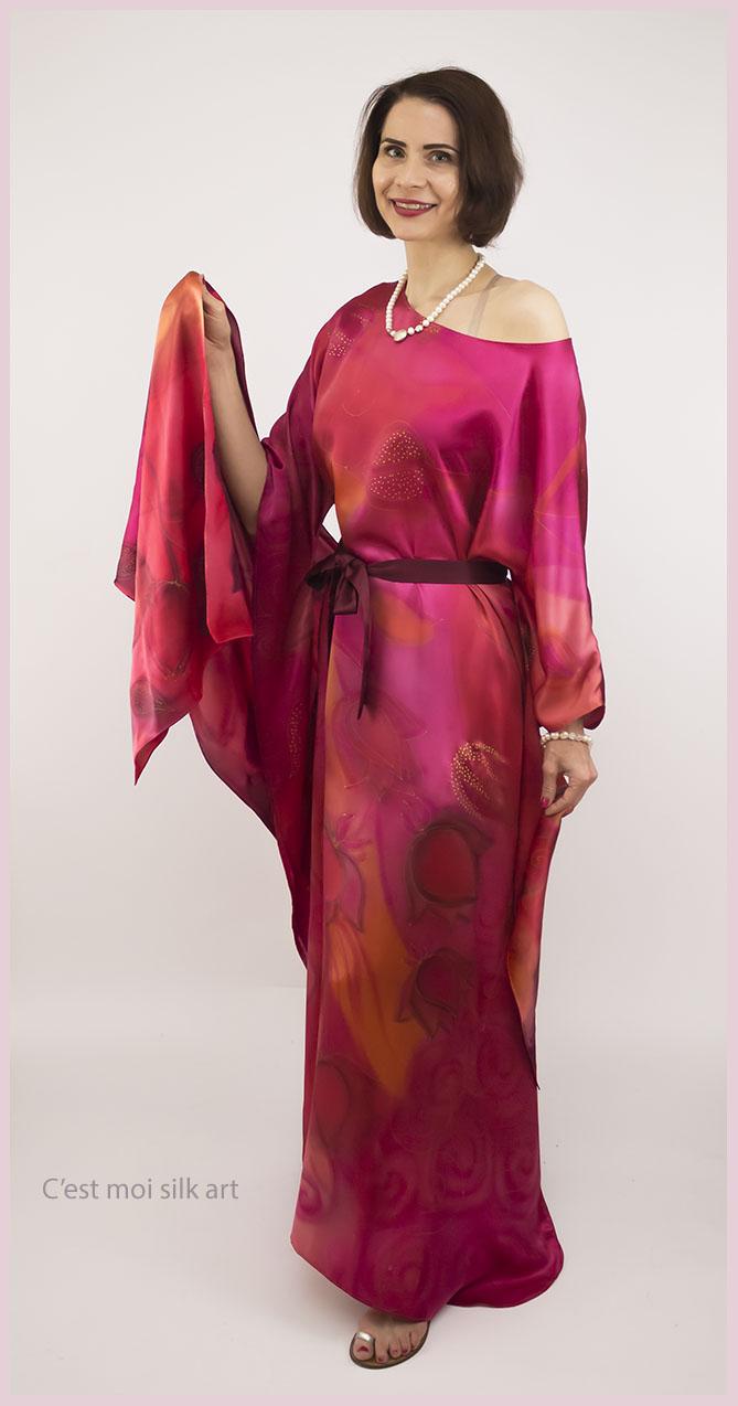 selyem szatén ruha japán újjal ciklámen lótuszok 11