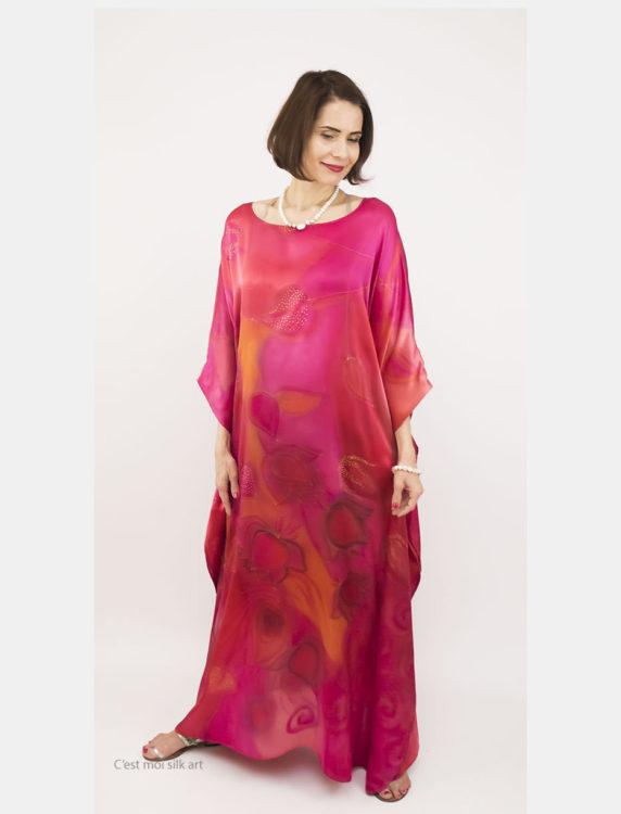 selyem szatén ruha japán újjal ciklámen lótuszok 14