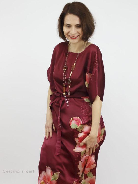 selyem szatén ruha kézi festés bordó tuba rózsával 010jpg