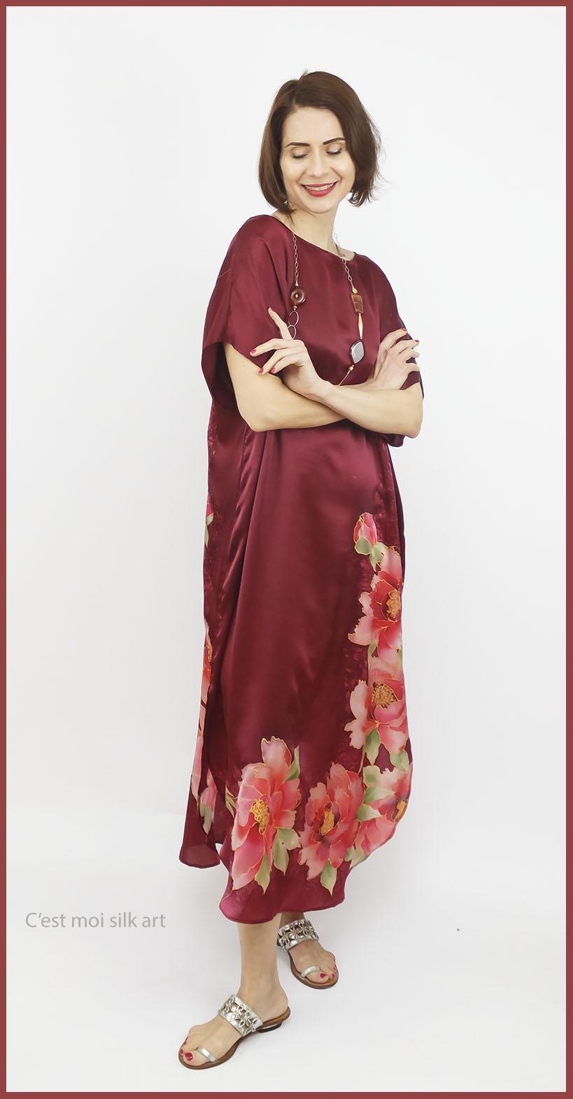 selyem szatén ruha kézi festés bordó tuba rózsával 06