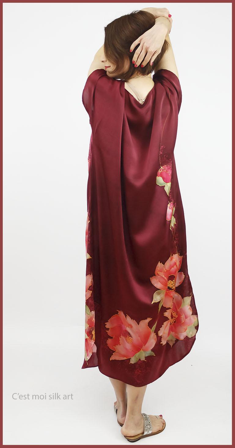 selyem szatén ruha kézi festés bordó tuba rózsával 07