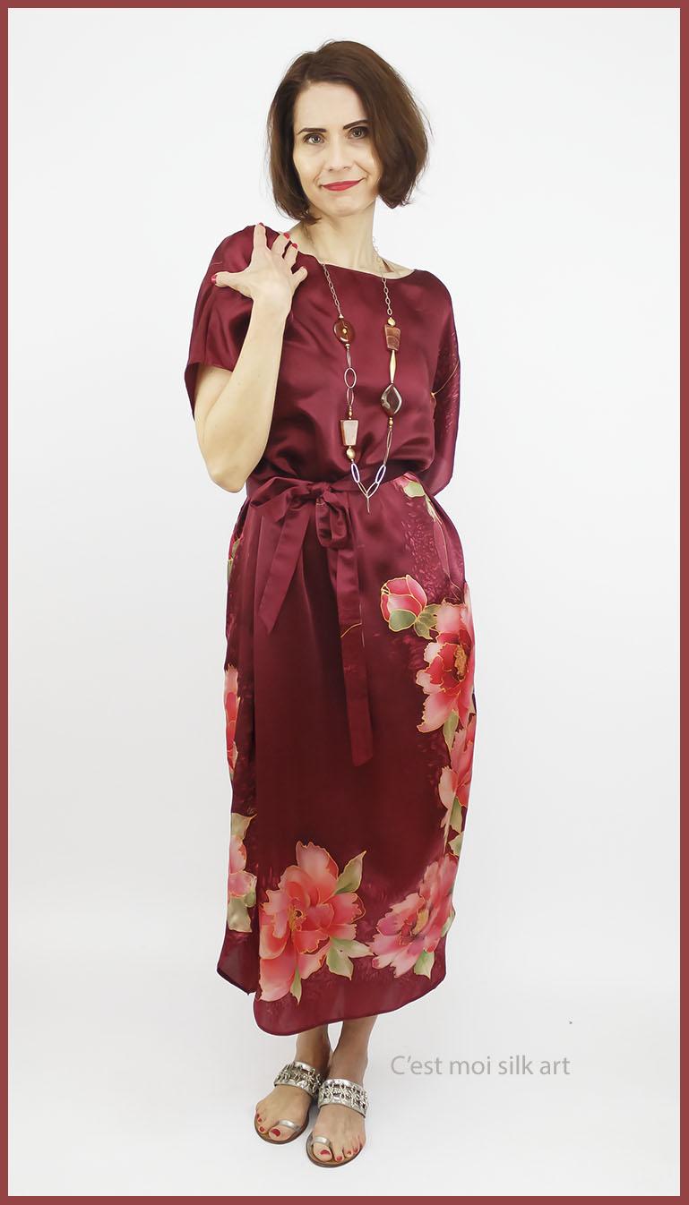 selyem szatén ruha kézi festés bordó tuba rózsával 08jpg
