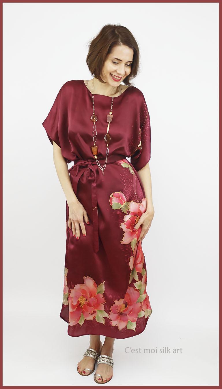 selyem szatén ruha kézi festés bordó tuba rózsával 09jpg