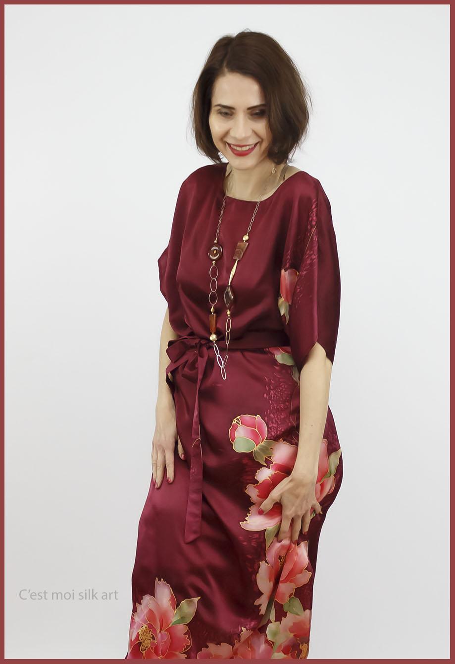 selyem szatén ruha kézi festés bordó tuba rózsával 10jpg