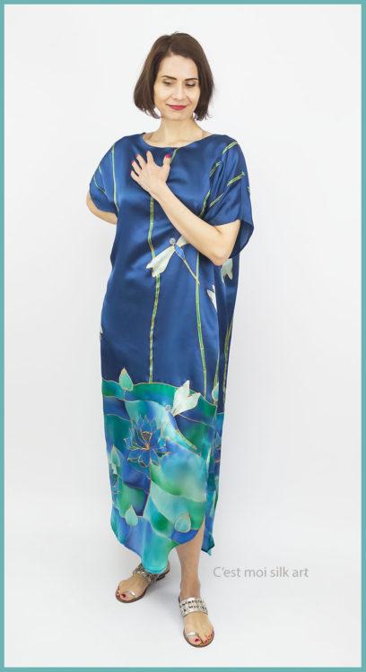 selyem szatén ruha szitakötőkkel 02