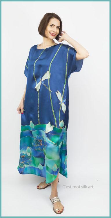 selyem szatén ruha szitakötőkkel 04