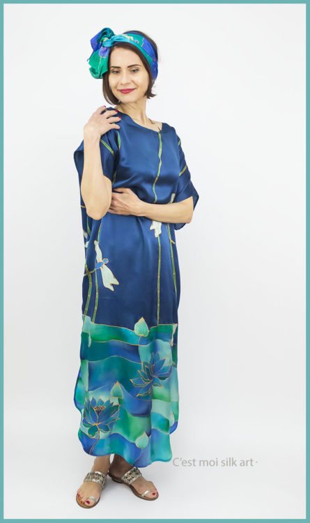 selyem szatén ruha szitakötőkkel 05