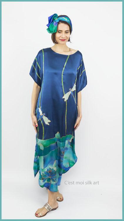 selyem szatén ruha szitakötőkkel 07