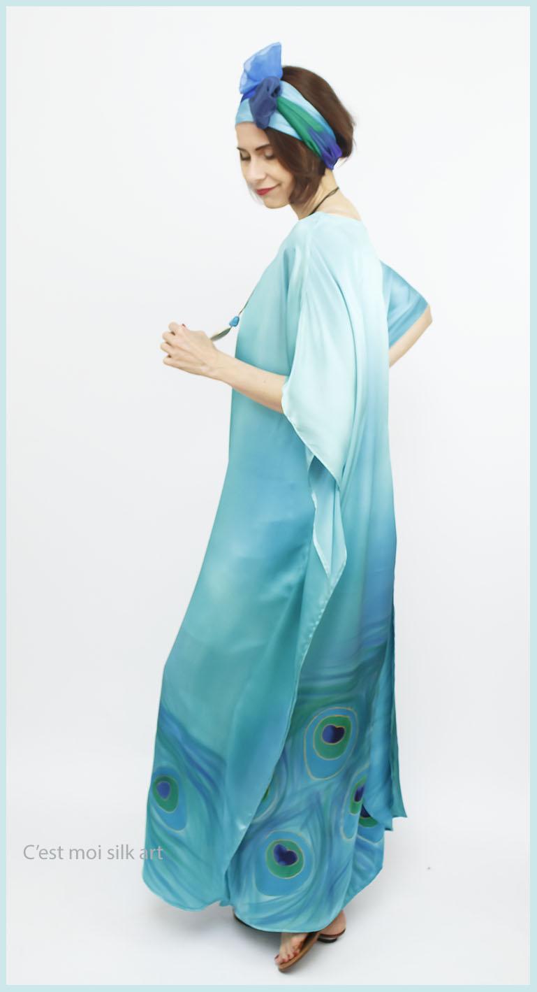 selyem szatén türkiz ruha páva mintás 02