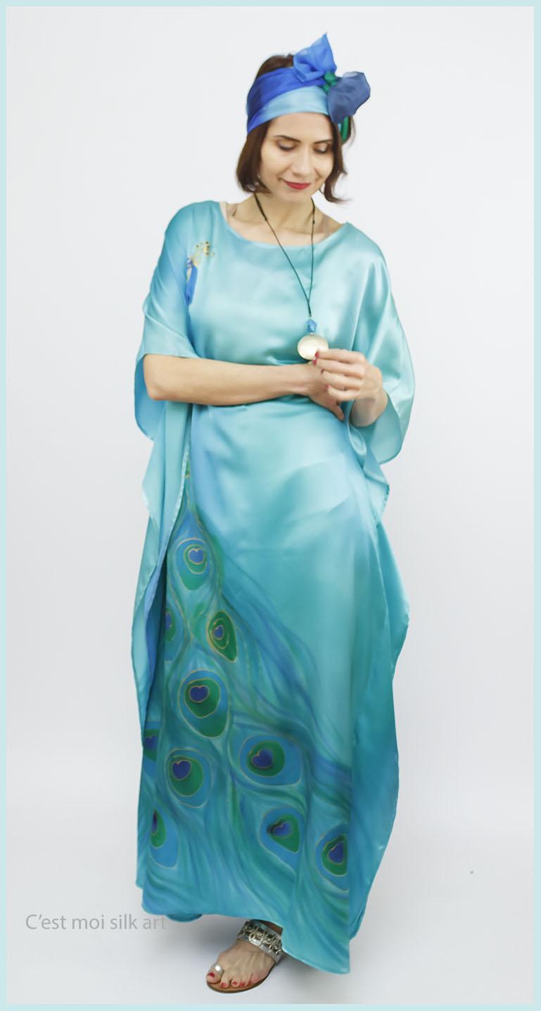 selyem szatén türkiz ruha páva mintás 03